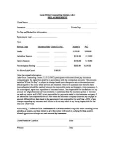Fee Agreement 2018 - Lake Orion Counseling Center